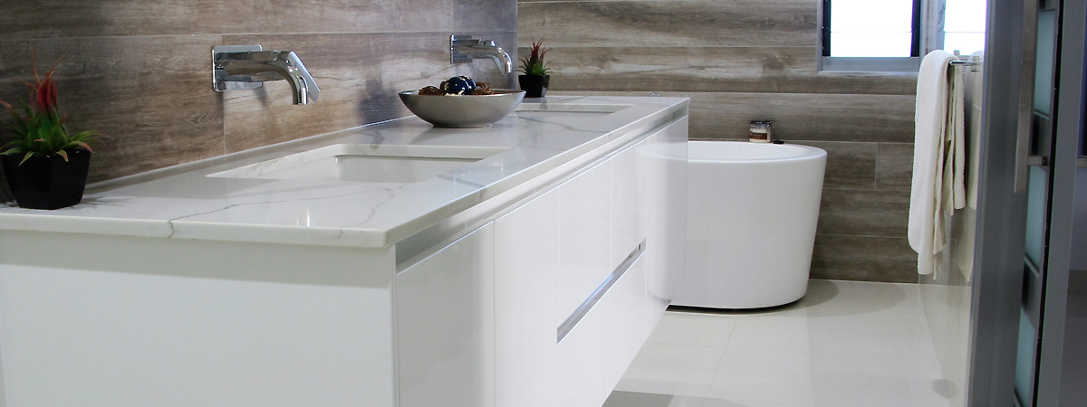 Modern bathroom vanity with stone benchtop